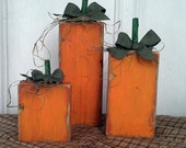 Set of 3 Adorable Primitive Autumn Pumpkins Old Reclaimed Barn Wood Fall Decorations kitchen or porch