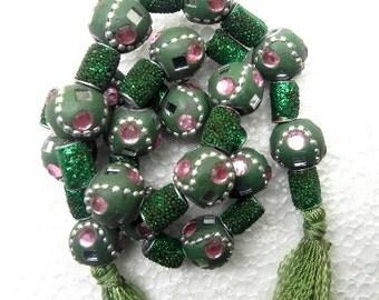 "20"" rare 80's Tribal Indian kashmiri green Beads string handmade / beading craft/jewelry craft/craft supplies/jewellery making"