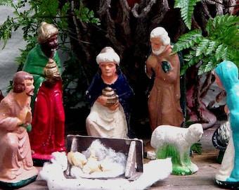 Nativity Scene Holy Family Classic Sixties Chalk-Ware Vintage Christmas Decor