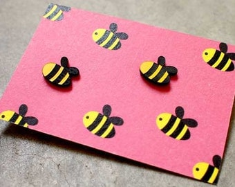 Earrings - Busy Buzzy Bee Stud Earrings - Bee Earrings - Acrylic Plastic Earrings - Stainless Steel Ear Studs - Bee Studs - Cute Earrings