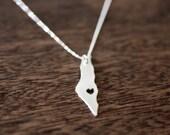 i heart Israel Necklace - I heart Palestine Necklace - Israel Country Necklace I Love Israel Map Necklace Jewish Jewelry Holy Land Necklace