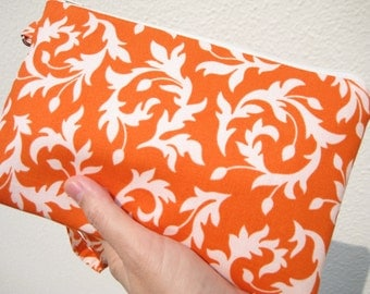 Wedding Clutch 2 pockets,medium,cotton,discount plan set, wristlet orange,-- Swirly buds orange