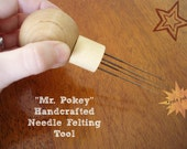 Mr Pokey Needle Felting Tool - handcrafted wooden holder for ease in felting, comfortable in hands