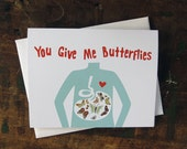 Funny Valentine, Love Card, Anniversary Card - Butterfly Stomach