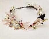 Butterfly Tiara, Fairy Hair Wreath Earth tones