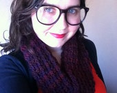 Wool cowl - maroon and burgundy striped infinity scarf - season 18 warm winter accessory