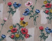 Vintage 50s Barkcloth Fabric Mid Century Anemones - so pretty