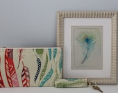 Feather Gift Box: Original Art + Linen Zippered Pouch + Key Fob Free Shipping Birds DelPesco