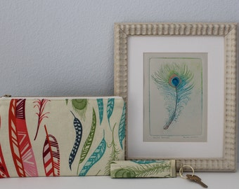 Gift Box for Her: Original Feather Print + Linen Zippered Pouch + Key Fob Free Shipping Feather Birds DelPesco