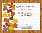 Fall Leaves Surprise Birthday Invite Autumn Printable 50th 60th Any Age Invitation Colorful Leaves Chevron Pattern (358)