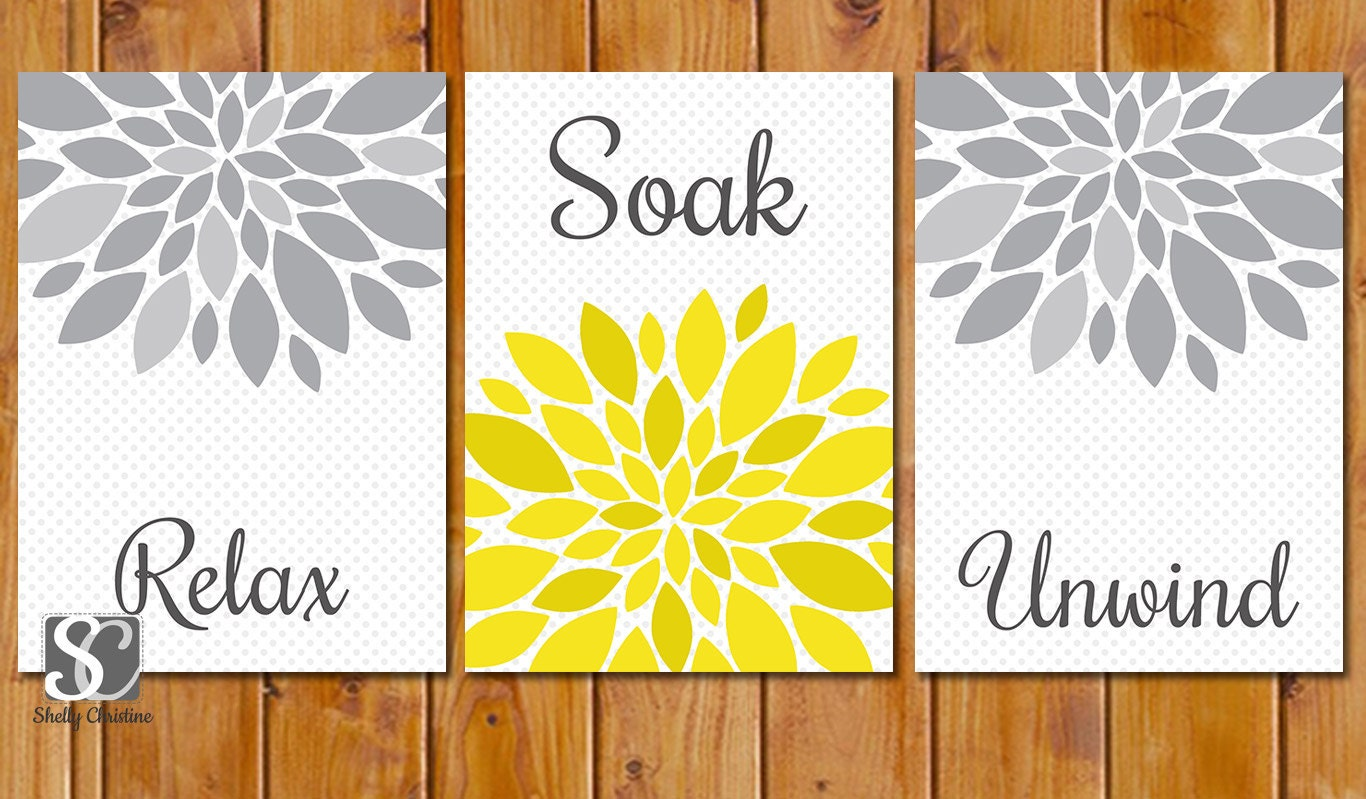 Yellow grey bathroom spa wall decor flower burst by scadesigns for Bathroom decor yellow and gray