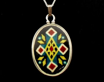 Southwest Cross Necklace hand drawn and dyed ostrich egg shell jewelry