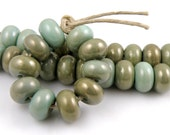219 Copper Green Spacers - Handmade Artisan Lampwork Glass Beads 5mmx9mm - SRA (Set of 10 Spacer Beads)