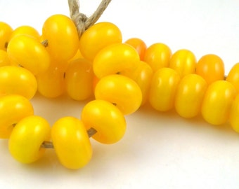 408 Mandarin Orange Spacers - Handmade Artisan Lampwork Glass Beads 5mmx9mm - SRA (Set of 10 Spacer Beads)