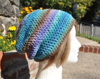 Slouchy Beanie Crocheted Hat - Multicolored Skullcap - Unisex Hat, Men's Hat - Slouch hat - Beanie Hat