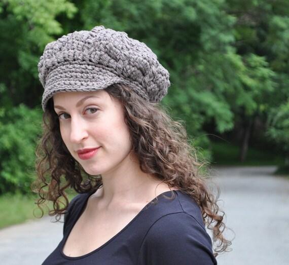 Taupe Cotton Crochet Hat - Crocheted Newsboy Hat - Summer Accessories