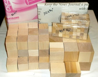 "Unfinished Blocks Variety Pack - 410 Wood Blocks - 5 Sizes: 1/2"" - 3/4"" - 1"" - 1.5"" - 2"""