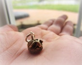 Adopt a Tiny Pet Guinea Pig Bronze Charm Hand Wired On Sterling Silver Ring
