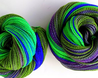 Cooler Side of the Rainbow - Handdyed, Handspun 100% Merino Wool 2ply Yarn