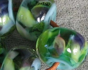 River Reflections 5 Lampwork Spacer Handmade Glass Beads Encased Green Blue Purple