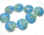 Sea to Sky Lentils, Handmade Glass Lampwork  Beads