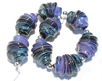 Turkish Delight Whirled, Handmade Lampwork Glass Beads