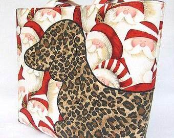 Christmas Dachshund Purse Tote Bag Wrap Around Applique Doxie Wiener Weiner Sausage Dog Leopard Santa Animal Print Ho Ho Ho Wrap A Hound