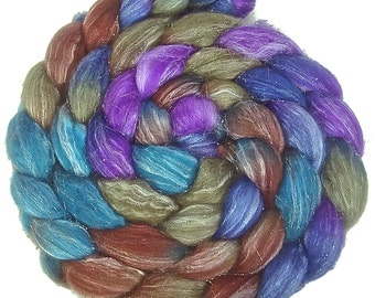 Handpainted Glitter Roving Superwash Merino/Silver Stellina - 4 oz. CALYPSO - Spinning Fiber