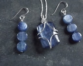 Blue Kyanite Sterling Wire Wrapped Necklace and Earrings Set