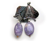 Post earrings in solid sterling silver with charoite dangles  One of a kind by Cathleen McLain