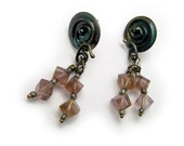 Post earrings in solid sterling silver with antique patina and rich purple fluorite cube dangles  One of a kind by Cathleen McLain