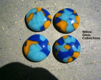 Fused Glass Cabochons, 4 Blue Aqua Yellow Glass Cabs, Willow Glass