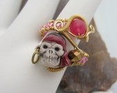 Pirate Copper Bead Ring Adjustable
