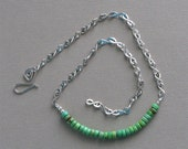 Sterling Silver and Kingman Green Turquoise Necklace - Handmade Handshaped Sterling Silver Chain with Handcrafted Sterling Hook Clasp