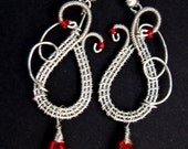 Silver Wireweave Earrings Intricate Swan