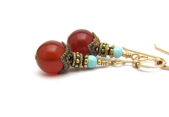 Earrings Carnelian Sleeping Beauty Turquoise 14kt Goldfill Gemstone Earrings