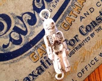 1pc TINY SKELETON CHARM Wee Bones Ceramic Spookiness