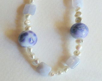 Periwinkle Agate Necklace with Lampwork Beads, Freshwater Pearls and Sterling Silver, Smokeylady54