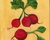 Radishes painting,  Original Food ART 8 x 10, acrylic on canvas, kitchen,art, acrylic painting, Radish kitchen decor, radishes on canvas