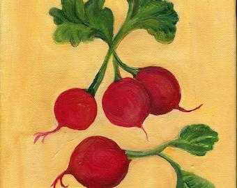 Radishes painting,  Original Food ART 8 x 10, acrylic on canvas, kitchen,art, acrylic painting, Radish kitchen decor, radishes on canvas