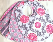 Baby Bibs for Baby Girl -  Set of 3 Triple Layer Chenille -  Pink and Grey Floral Lattice, Tiny Medallions & Shabby Stripe