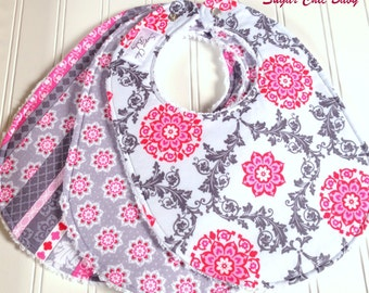 Baby Bibs for Baby Girl -  Set of 3 Triple Layer Chenille - Floral Lattice, Tiny Medallions, Shabby Stripe - PINK & GRAY