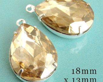 Light Colorado Topaz Glass Beads, Silver Plated Brass Settings, 18mm x 13mm, Pear Teardrop, Rhinestone, Cabochon, Glass Gems, One Pair