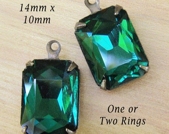 Emerald Glass Beads, Patina Brass Settings, Octagon, One or Two Rings, 14mm x 10mm, Dark Green, Rhinestone Jewels, Earring Dangles, One Pair