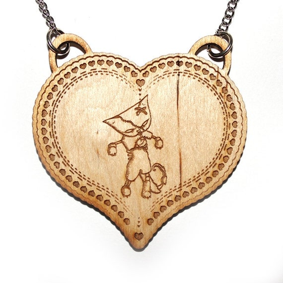 Zombie Cat Necklace / heart cameo - laser cut hand drawn illustration - halloween