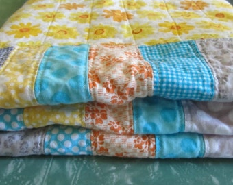 Sunny Daisy ~ Handmade Modern Scrappy Strip Quilt for baby toddler child ~ Gray aqua yellow orange