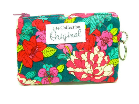 Coin Purse - Copeland Magenta Teal Bloomsbury Quilted Change Purse, Wallet