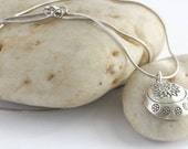 "Sterling and Hill Tribe Silver Stamped Flower Charm 18"" Necklace// luluglitterbug"