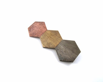 Geometric Hexagon Brooch - Mixed Metal Brooch