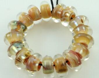 Handmade Lampwork Boro Beads Set of 17 Boro Borosilicate Glass Discs Disks StoneyMarie